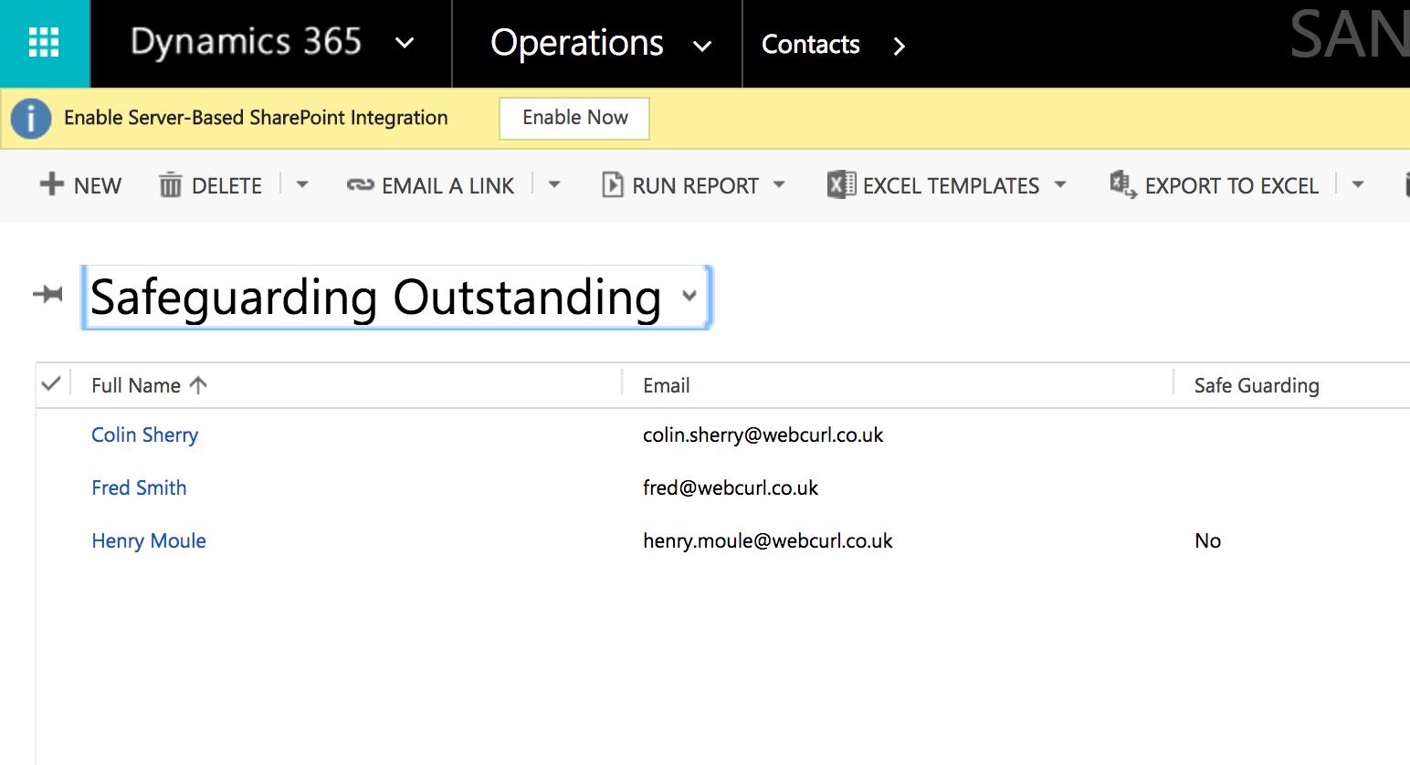 Email Inbox for Safeguarding Declaration