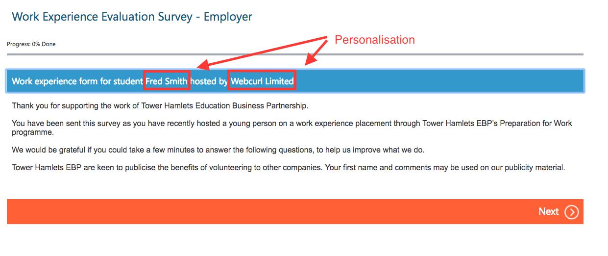 survey personalisation